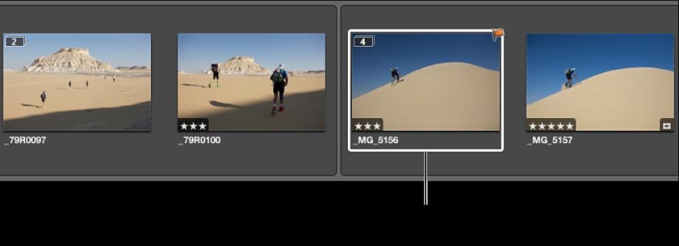 图。 两个展开的堆栈,从前一个堆栈创建,所选图像位于新堆栈的精选图像位置。
