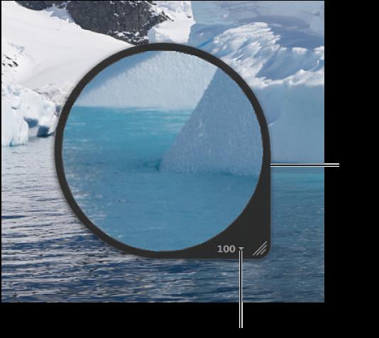 图。 检视器中显示居中放大镜放大图像部分。