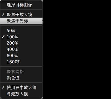"""图。 """"放大镜""""弹出式菜单显示""""聚焦于光标""""命令。"""