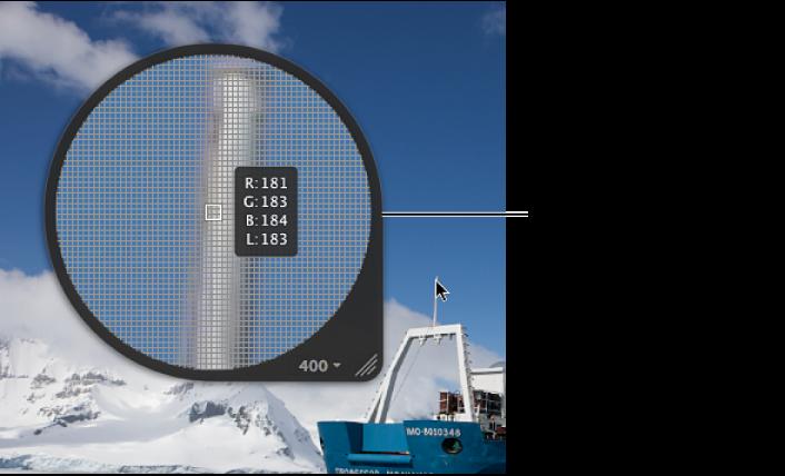 图。 居中放大镜被设定为显示像素网格和颜色值。