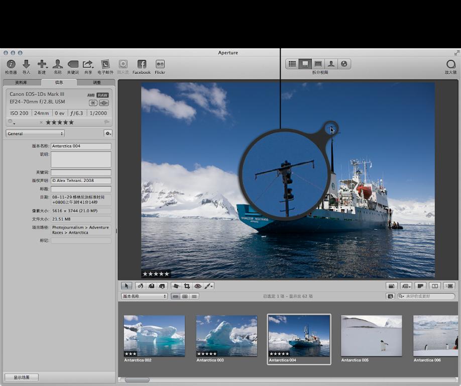 图。 Aperture 主窗口显示备选放大镜定位在检视器中的图像上,同时显示图像部分的放大视图。