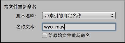 """图。 """"导入""""浏览器中的""""给文件重新命名""""控制。"""
