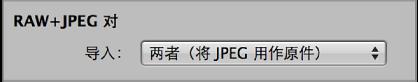 """图。 """"导入""""浏览器中的 RAW + JPEG 对控制。"""