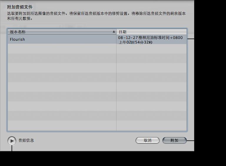 """图。 """"附加音频文件""""对话框中的控制。"""