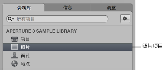 """图。 """"资料库""""检查器中的""""照片""""项目。"""