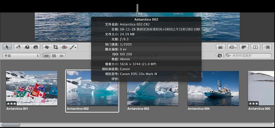 图。 此元数据工具提示显示图像的元数据。