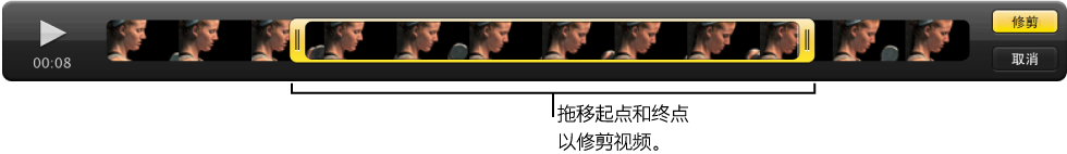 图。 检视器中视频片段的起点和终点。