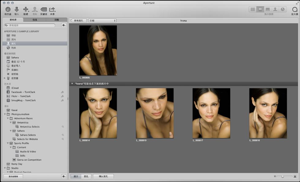 """图。 面孔的建议匹配项显示在""""面孔""""浏览器的下半部分。"""