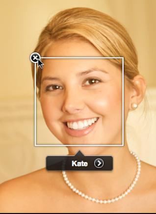 图。 定位框和面孔标签的移除按钮。
