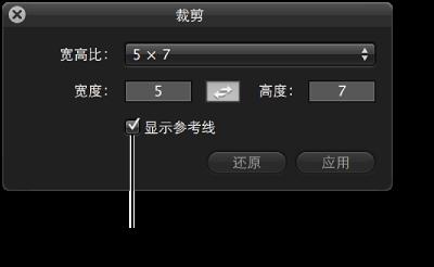"""图。 """"裁剪""""HUD 中的""""显示参考线""""复选框。"""