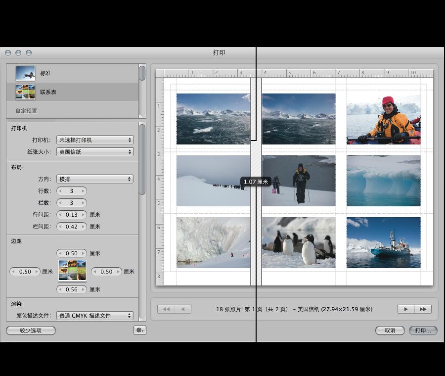 """图。 在""""打印""""对话框的""""预览""""区域中,拖移名片纸中图像之间的空格行。"""