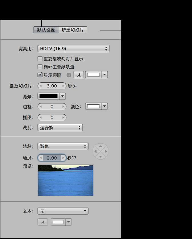 """图。 幻灯片显示编辑器的""""默认设置""""面板。"""
