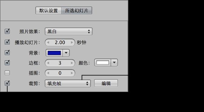 """图。 幻灯片显示编辑器的""""所选幻灯片""""面板中的""""裁剪""""控制。"""