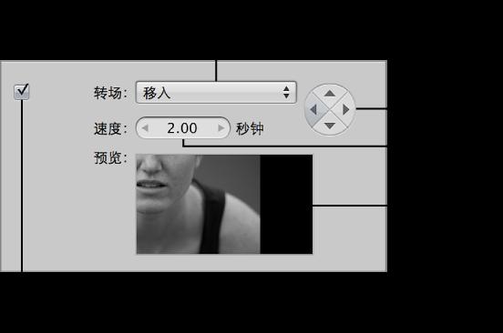 """图。 幻灯片显示编辑器的""""所选幻灯片""""面板中的""""转场""""控制。"""