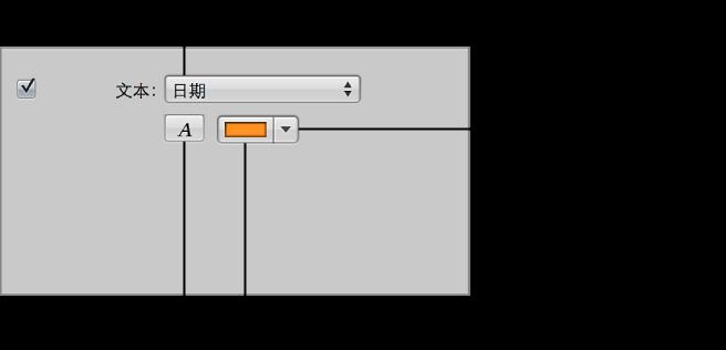 """图。 幻灯片显示编辑器的""""所选幻灯片""""面板中的""""文本""""控制。"""