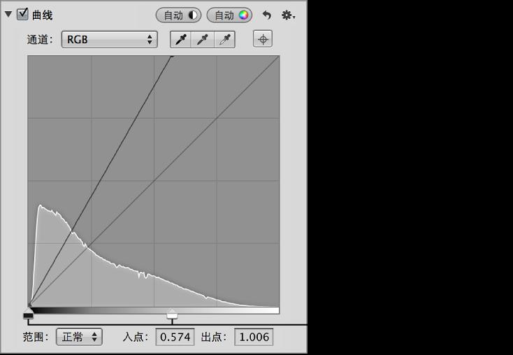 """图。 """"调整""""检查器的""""曲线""""区域中的""""黑点""""和""""白点""""滑块。"""
