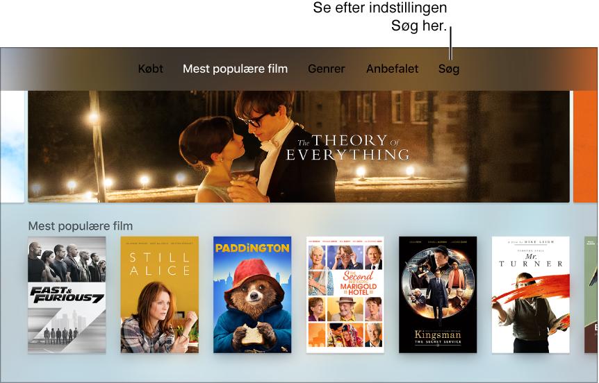Skærm, der viser muligheden Søg i en app