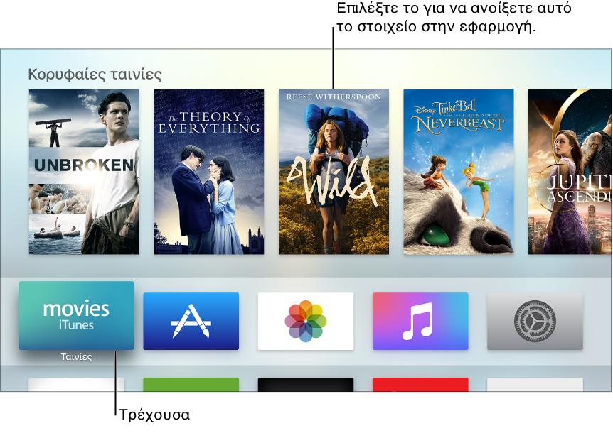 Οθόνη Αφετηρίας Apple TV