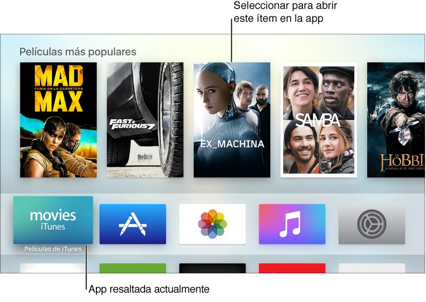 Pantalla de inicio del Apple TV