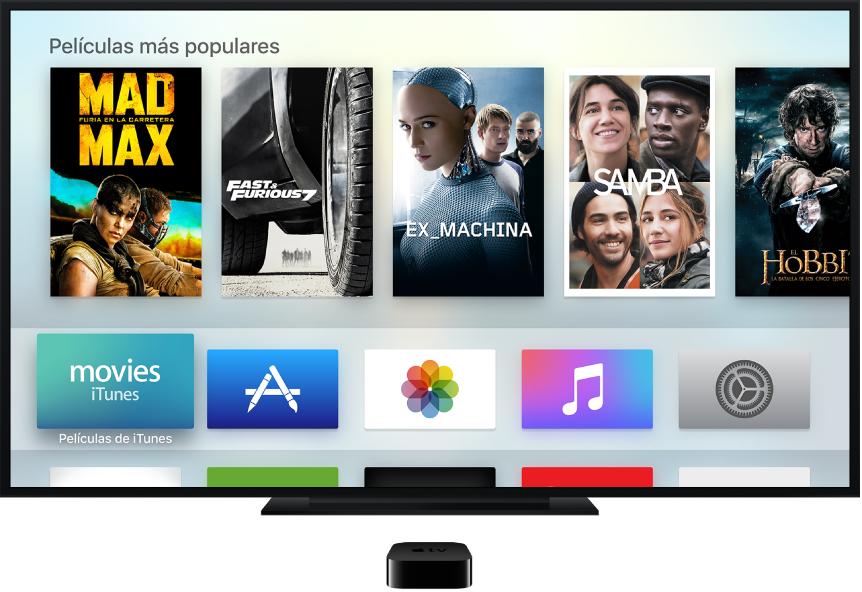 Apple TV conectado a una televisión donde se muestra la pantalla de inicio