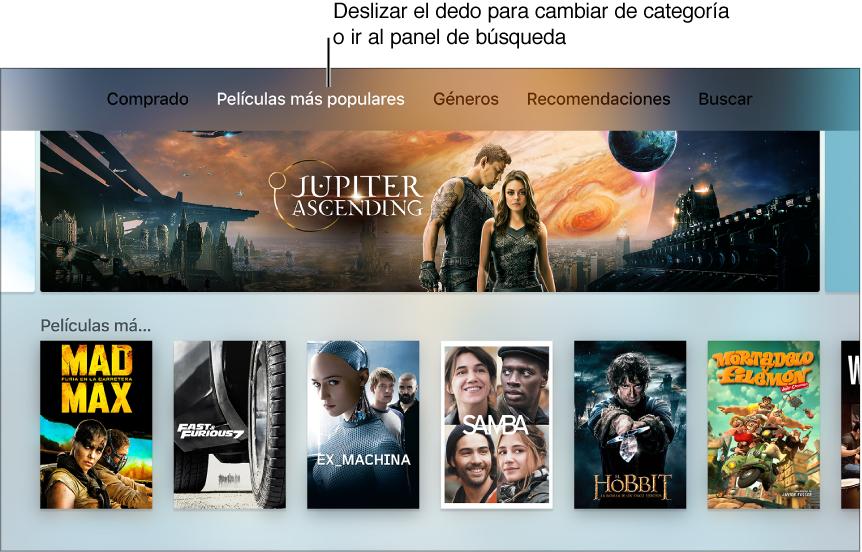 "Pantalla de inicio de ""Películas de iTunes"""