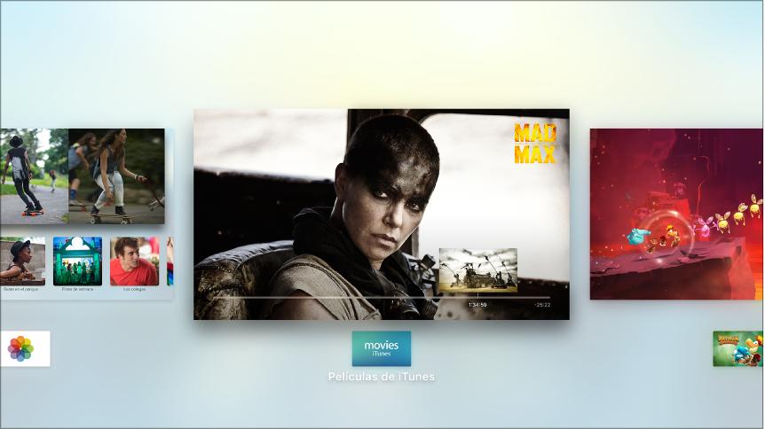 Pantalla del Apple TV donde se muestra el selector de aplicación