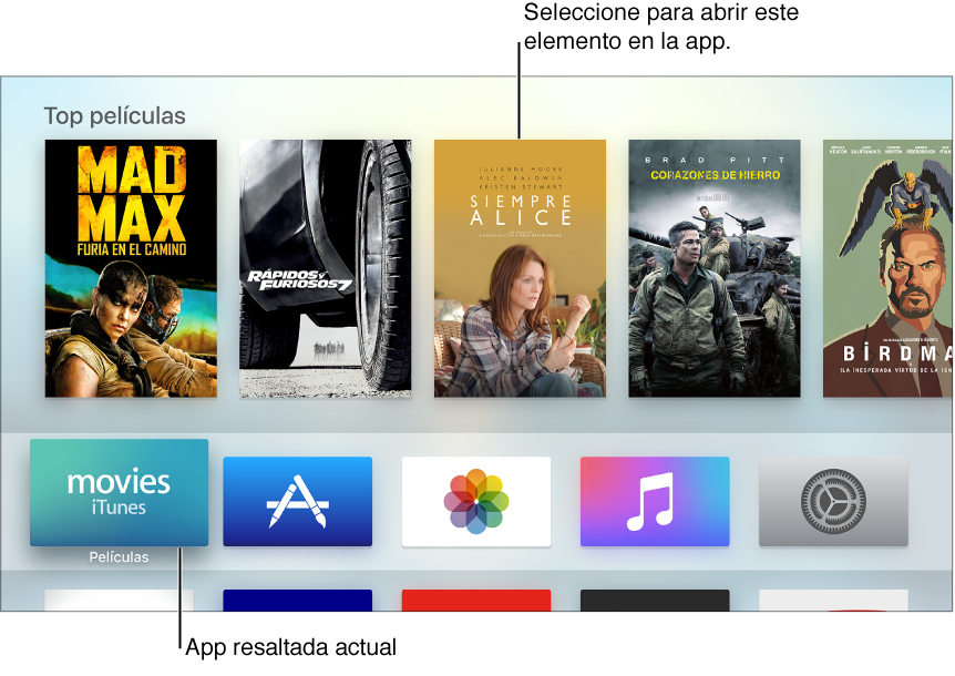 Pantalla de inicio del Apple TV