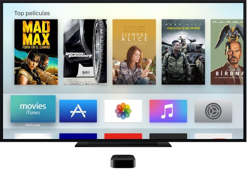 Apple TV conectado a una televisión mostrando la pantalla de inicio
