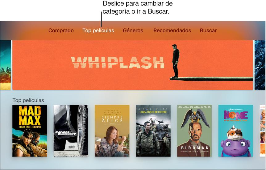 Pantalla de inicio de las películas de iTunes