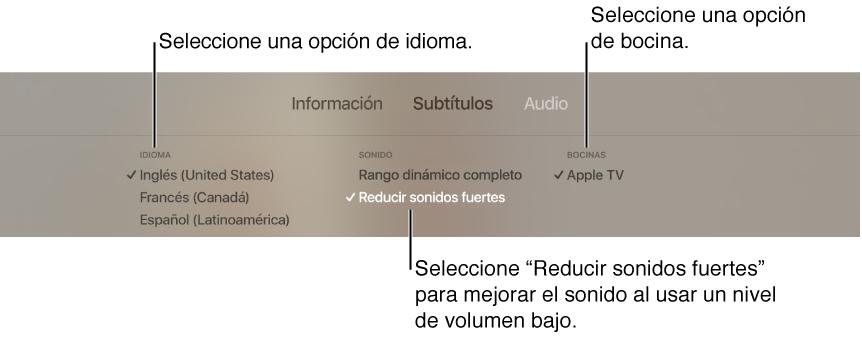 """Pantalla de la reproducción mostrando el menú desplegable Audio con la opción """"Reducir sonidos fuertes"""" seleccionada"""