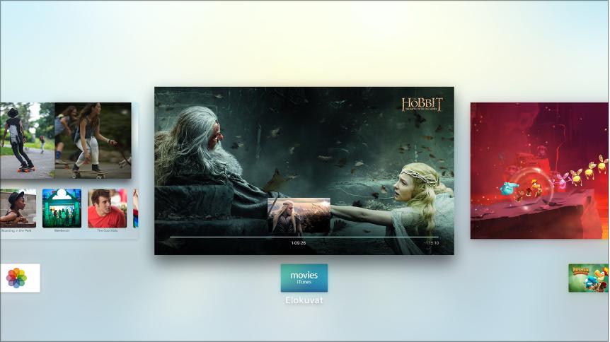 AppleTV -näyttö, jossa näkyy ohjelmanvaihtaja