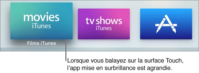 App sélectionnée sur l'écran d'accueil