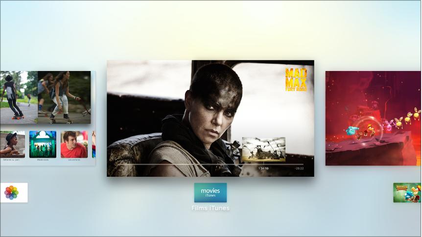 Écran de l'AppleTV avec le sélecteur d'app