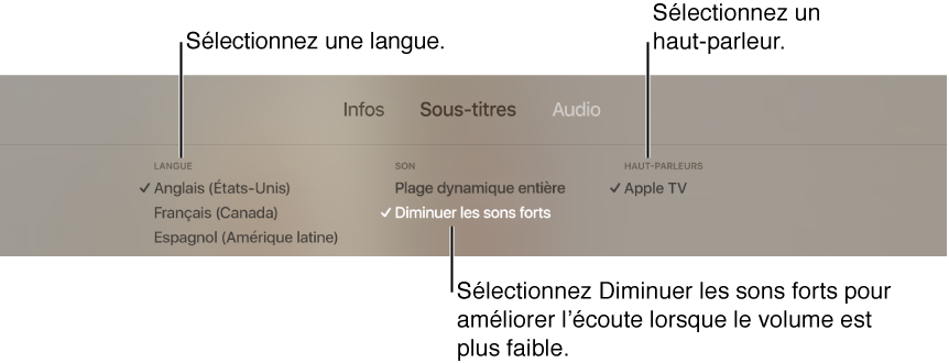 L'écran de lecture avec la sous-fenêtre Audio et le mode Diminuer les sons forts sélectionné.
