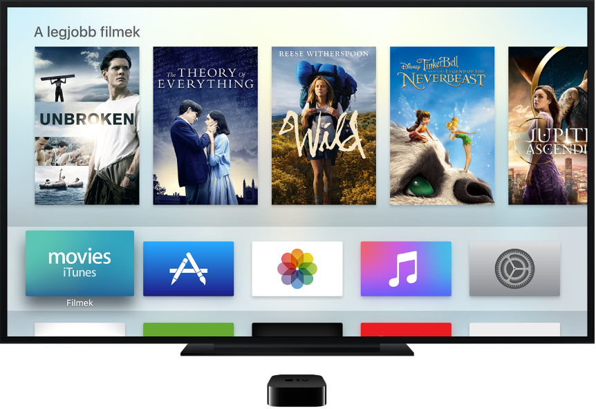 Az Apple TV egy televízióhoz van csatlakoztatva, amelyen a Főképernyő látható