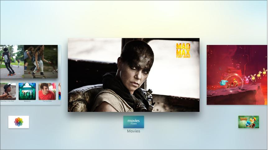 Az Apple TV képernyője az alkalmazásváltóval