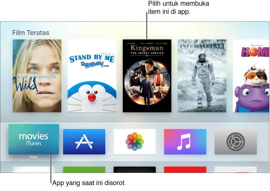 Layar Utama Apple TV