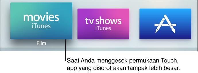 App yang dipilih di layar Utama