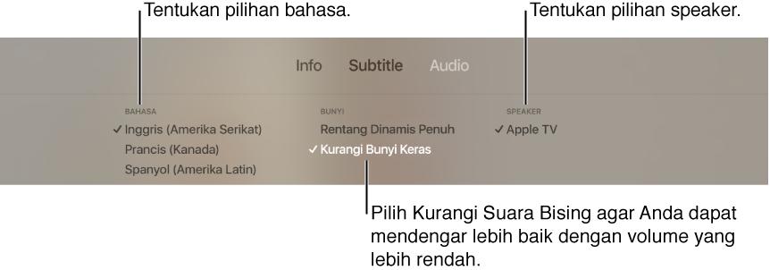 Layar pemutaran menampilkan menu tarik-turun Audio dan Kurangi Bunyi Keras yang dipilih