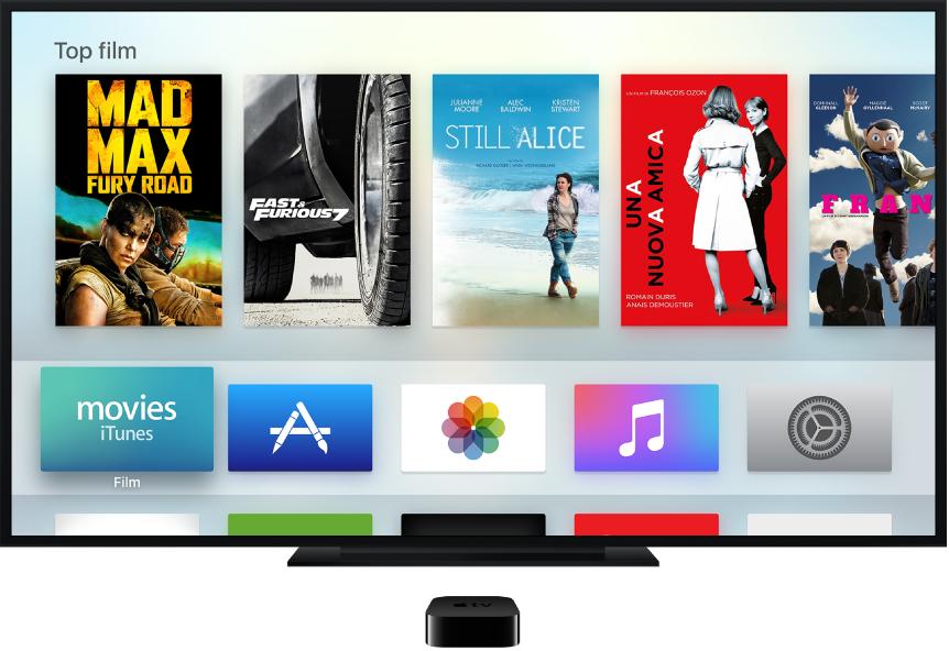 Apple TV collegato a un televisore che mostra la schermata Home