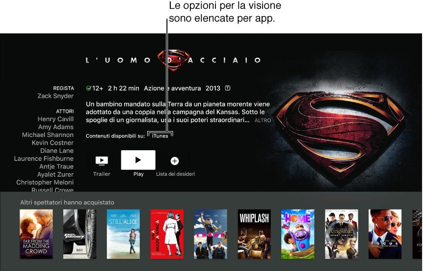 Schermata che mostra la schermata di ricerca di un film.