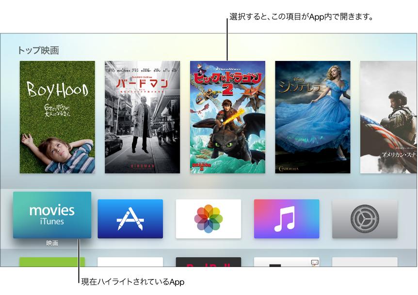 Apple TV ホーム画面