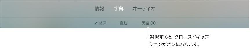 再生中の「字幕」メニュー
