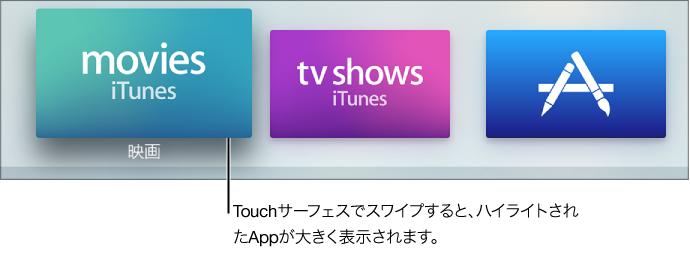 ホーム画面で選択されている App