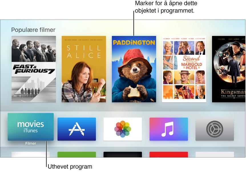 Hjem-skjermen på Apple TV