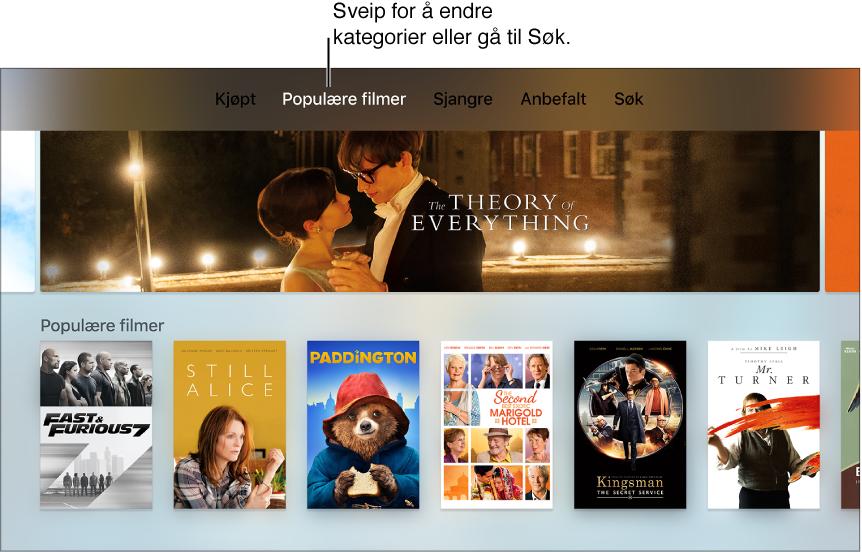 Hjem skjermen for iTunes-filmer