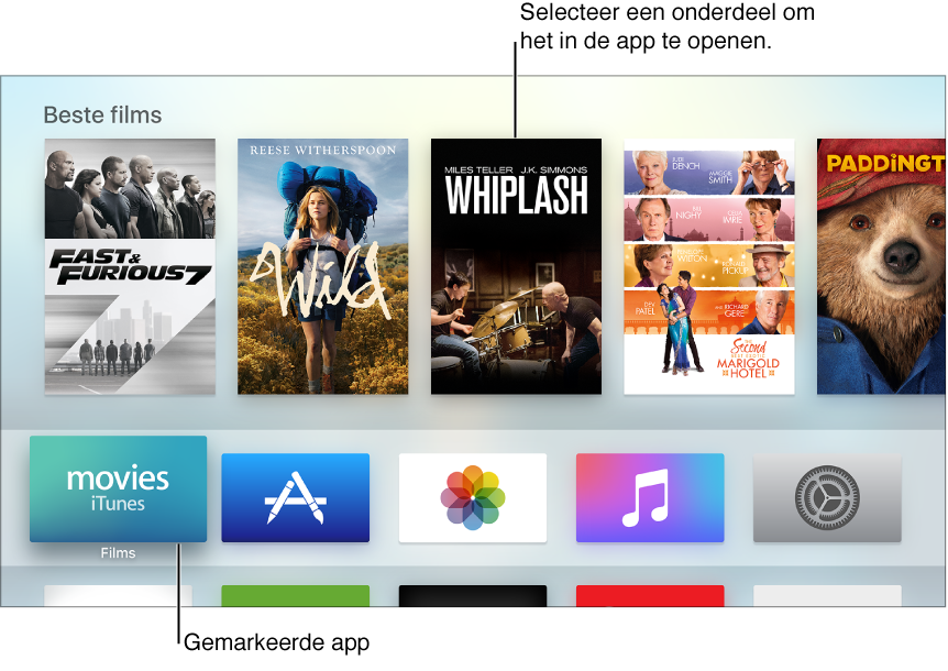 Beginscherm van Apple TV