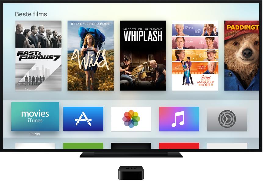 Apple TV verbonden met een tv waarop het beginscherm wordt weergegeven