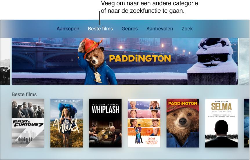 Beginscherm van iTunes Movies