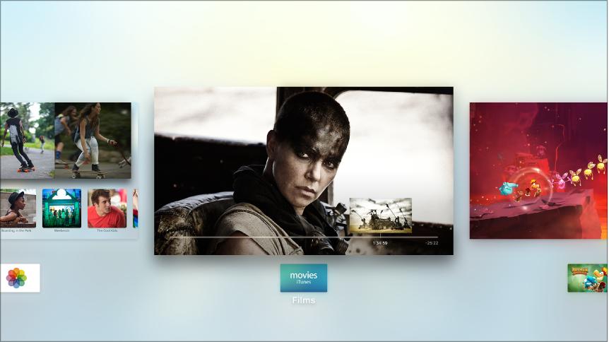 Scherm van Apple TV met de appkiezer
